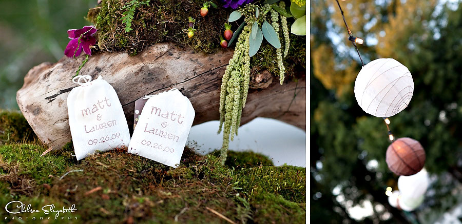hand made bride and groom tea bags on branch with moss and chinese lanterns garden wedding detail picture