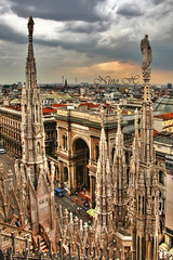 Milano skyline (Nino H) Tags: city roof italy milan skyline architecture construction italia cathedral milano gothic cathdrale duomo gothique hdr italie galleria ville itlia vittorioemanuelii gettyimagesitalyq1