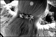 Day 168/365 watching the washing dry (Pink Thistle) Tags: blackandwhite backyard backofmyhead sunnywintersday 365days floralhairclip
