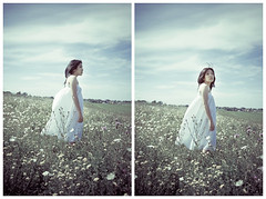 Alone With The Wind (Sachie Nagasawa - somewhair) Tags: summer selfportrait nature field self vent nikon diptych dress autoportrait wind robe duo champs tokina t diptyque 1224mm nostalgie nostalgy sachie nagasawa 20fav d80 somewhair hantenshi