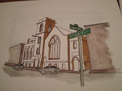 Grace Church painting in progress