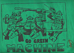 """GOGREENMACHINE.ORG"" Mascot Staff t-shirt, signed by graphic illustrator & TMNT vet Steve Lavigne ii (( 2009 ))"