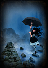 Skippidy Do Dah....Skippdy Day.... (fine art photography by TkSwayze) Tags: bridge blue trees nature water umbrella photoshop manipulated hair landscape fun outside dress natural wind cloudy stones foggy stretch creation walkway dreamy balance mistic tkswayze graphicmaster