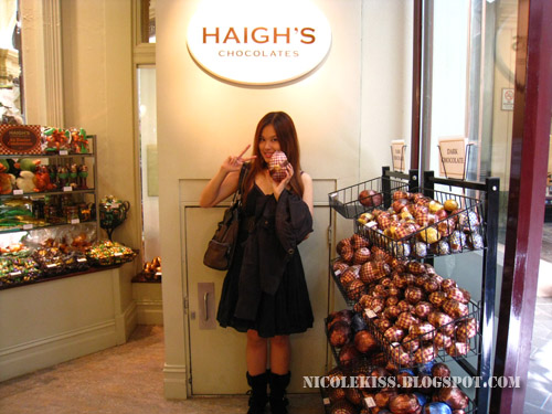 posing with easter egg in haigh's