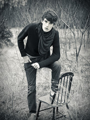 (jacquelinemarie) Tags: boy male field scarf outside chair richard indie toned bergeron richardbergeron