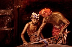Master Blacksmith and His Apprentice Son by Les Bryant 2009 (lesbryant2) Tags: original boy shirtless bali love childhood kids youth painting children indonesia wonder fire freedom artwork acrylic child father memories son adventure innocence oil sword myart nostalgic handcrafted teaching blacksmith forge tradition endurance myartwork apprentice oiloncanvas pande aprentice masterofmetal