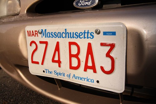 License plate, USA.