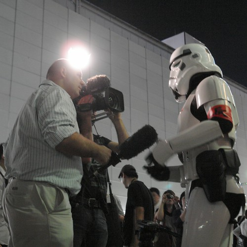BBC-TV crew interviews the Imperial Storm trooper.