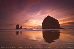 Cannon Beach Sunset (Darren White Photography) Tags: ocean sunset sky beach nature water clouds landscape bravo natural northwest scenic oregoncoast cannonbeach haystackrock seastacks traveloregon oregontravelandtourism