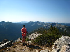 Allison atop Parker Peak, Selkirk Mountains, North Idaho.