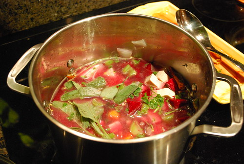 All ingredients in the pot....it thickens a lot when done cooking.