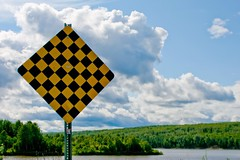 No Escape (Universal Stopping Point) Tags: sky canada sign clouds forest river woods wilderness northwestterritories checkered noexit endoftheroad fortliard filllightexposurecontrastvibrancy