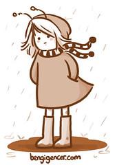under the rain (bengi gencer) Tags: cute rain illustration mud bee shorthaircut norain blindmelon rainboots characterillustration