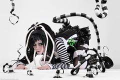 Ophelias overdose Beatlejuice (Oliver Pietern) Tags: lighting white black colour art illustration photoshop studio design photo tim 3d model punk doll post alt stripes render gothic creative manipulation cinema4d virtual horror production imaging concept fx visual overdose grading retouching alternative cyber rendering cybergoth burton hdri cgi tentacles compositing texturing modelmaking ophelias setbuild hoschie