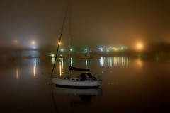 Merrimac River at US1 09.10.09 4020 (rowland-w) Tags: bridge light reflection water fog night sailboat canon river dark boat massachusetts calm northshore bateau nuit tranquil newburyport fleuve smorgasbord merrimac