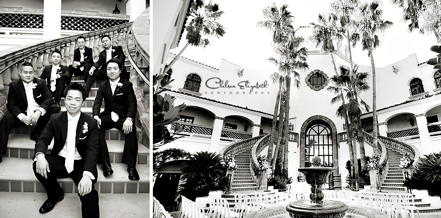 The Turnip Rose, Newport Plaza, Costa Mesa groomsmen and ceremony on grand staircase, wedding image