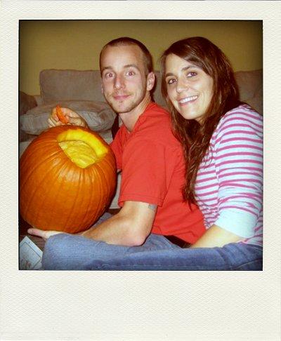 josh and me carving pumpkins