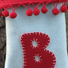 Christmas Stockings Personalised (Sew very English) Tags: decorations wool noel fete stocking 2009 christmasstockings christmastreedecorations newstockingsoct2009 handembroideredandchristmastreedecorations