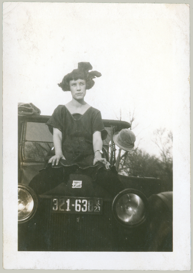woman on car
