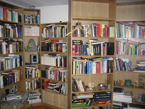 Messy bookshelves