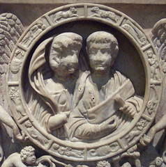 Detail of erotes sarcophagus with zodiac