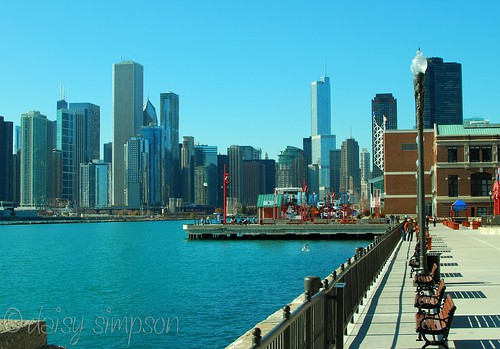 navy pier view of city