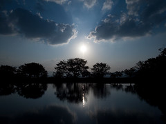 symmetry (miemo) Tags: park travel autumn trees sky sun lake reflection fall nature water silhouette japan clouds garden landscape evening pond kyoto asia olympus getty gettyimages ep1 imperialvilla shugakuin