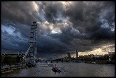 Storm over the Thames (Romany WG) Tags: storm london eye rain thames clouds river south housesofparliament bank fbdg