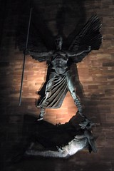 Saint Michael (Thorbard) Tags: lighting blue england building church statue angel night buildings michael fight construction cathedral battle victory structure coventry deamon saintmichael coventrycathedral
