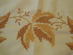 cross stitched leaf