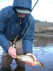 Unhooking (wayupstream) Tags: patagonia sidebar fishing maine flyfishing trout wader mousam deepwadingjacket