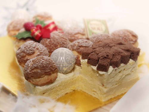 Durian Profiterole Cake