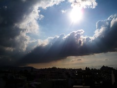 100_1508 (marthouli) Tags: city sky sun clouds day athens greece sunbeams