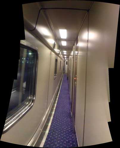 Inside the sleeper carriage