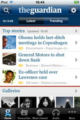 Guardian iPhone: Home page