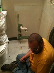 Nasty ancient vanity removed (bearsyr) Tags: bathroom sink vanity plumbing renovation homeimprovement pvc iphone greenboard nogrout idiotformerowneroourhouse