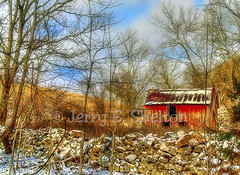 Old Souder Barn (Uncle Phooey) Tags: snow abandoned rural decay country scenic explore missouri ozarks hdr ruraldecay rockwall christmasday oldbarn rockbridge rockfence douglascounty ruralmissouri souder southwestmissouri littleredbarn brixey unclephooey scenicmissouri