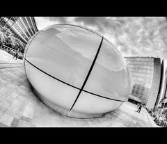 OVNI (AO-photos) Tags: blackandwhite bw paris architecture nikon noiretblanc nb fisheye 8mm institutdumondearabe hdr samyang d300s pavillonchanel