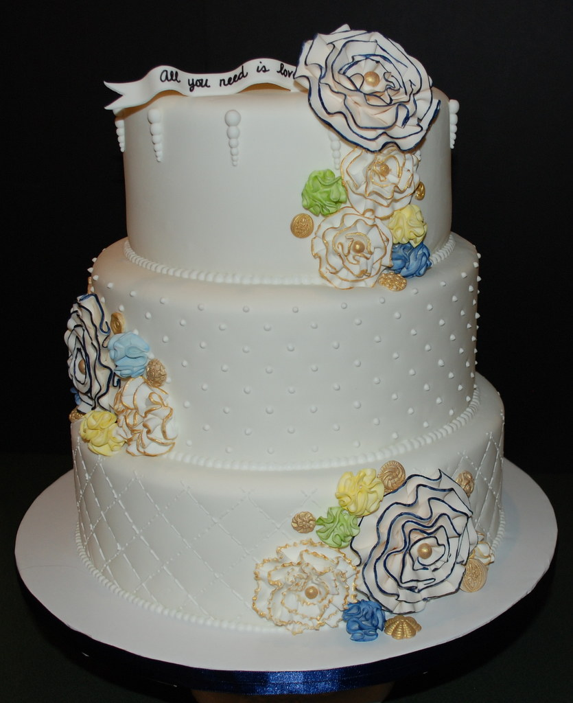 Antique Floral Wedding Cake