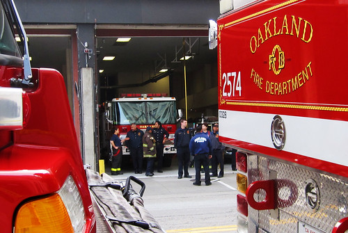 SF Fire Department Gathering Before a Funeral Procession
