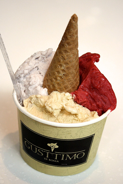 My 3-scoop gelato cup (S$5.90): Risonero (black rice); tiramisu; Frutti di Bosco (mixed berries)