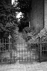 . (Ansel Olson) Tags: urban house tree brick film yard fence virginia nikon gate iron dof kodak bokeh arches richmond historic neighborhood sidewalk va arrows f3 shrub residential pathway 50mmf14 serpents wrought bw400cn hatchets thefan