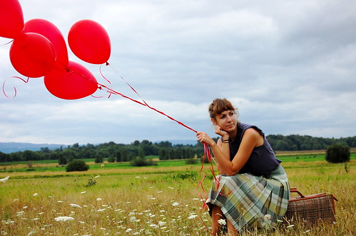 Red Balloons in Field