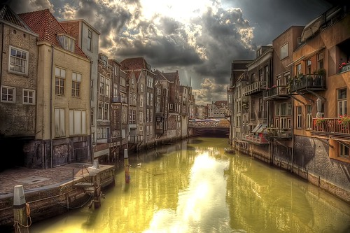 Wijnhaven, Dordrecht, Holland [HDR] (toffiloff) city flowers venice houses windows summer sun holland reflection art water netherlands dutch yellow architecture clouds stairs canon boats pier boat town canal vanishingpoint cityscape village market balcony saturday august explore parasol dordrecht mirrorimage frontpage 2009 sunbeam hdr highdynamicrange baloons sunray gracht zuidholland pasfotos openmarket randstad wijnhaven noiseware photomatix canonef24105mmf40lisusm canoneos5dmarkii oldestcityinholland gettyimagesbeneluxq2