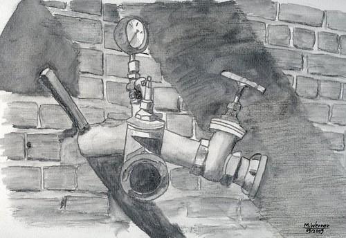 Alte Amature im Mauerwerk, Absperrhahn in Aquarell
