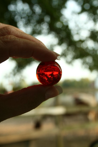 big red marble
