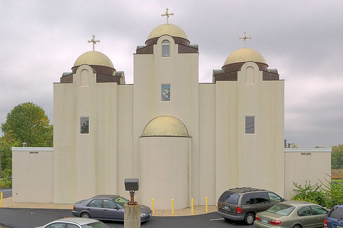 Saint Mary and Saint Abraam Coptic Orthodox Church, in Saint Louis County, Missouri, USA - exterior front
