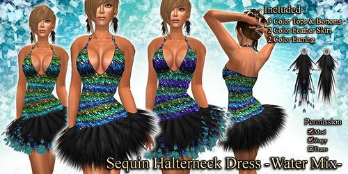 Sequin Halterneck Dress (Water)
