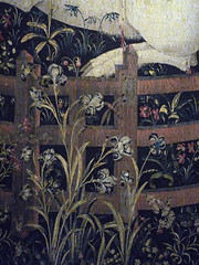 The Unicorn in Captivity detail with Irises