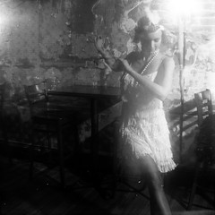 1920s: Speakeasy Dancer (mattbellphoto) Tags: 1920s blackandwhite bw 120 film kodak trix 400tx greensboro d76 brownie hawkeye flapper jazzclub speakeasy 620 ginjoint productionphotography